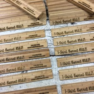 bamboo rulers and business cards