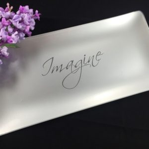 silver engraved glass dish