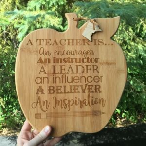 apple shaped cutting board for teacher gift