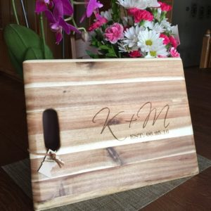cutting board with monogram engraving