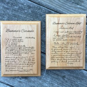 engraved handwritten recipe
