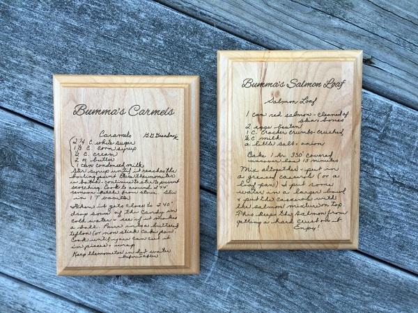 engraved handwritten recipe